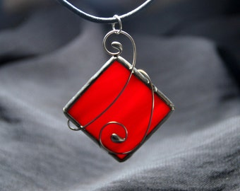 Stained glas jewelry, red pendant with cord, wrapped glass jewelry in red, silver plated copper wire, stained glass jewelry gift