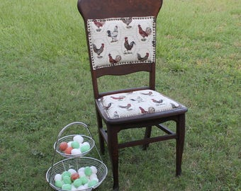 Vintage Re Upholstered Farmhouse Country Chair Home Decor Rooster Fabric  Front Claw Feet