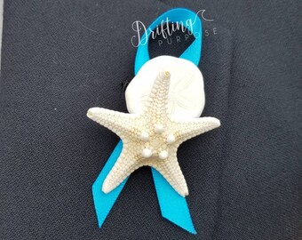 Starfish & Sea Biscuit Boutonniere, Beach Boutonniere, Coastal Nautical Wedding Boutonniere, Beach Groomsmen, Starfish Pin, Mermaid Wedding