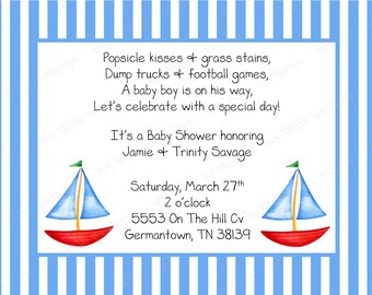 10 Sailboat Baby Shower Invitations with Envelopes.  Free Return Address Labels