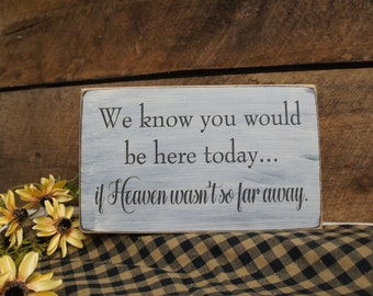 We Know You Would Be Here Today.. If Heaven Wasn't So Far Away Rustic Memorial Sign  for Weddings Special Events, reunions New Design