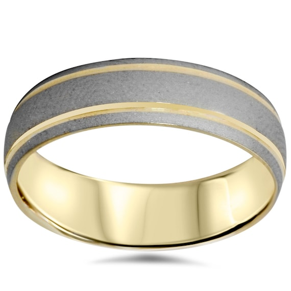 Dome Shaped Bands: 14K Gold 6MM Mens Two Tone Wedding Band Brushed Dome Shape