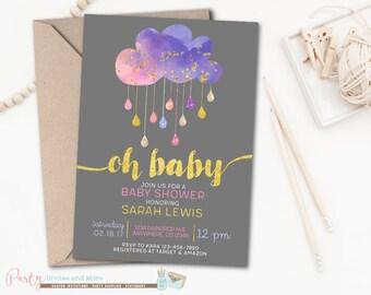 Cloud Baby Shower Invitation, Sprinkle Baby Shower Invitation, Pink and Purple Baby Shower Invitation, Girl Baby Shower Invitation