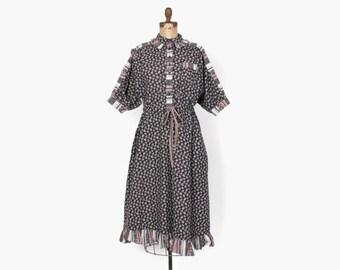 Vintage 70s GUNNE SAX DRESS / 1970s Black & Pink Cotton Mixed Floral Prints Boho Midi