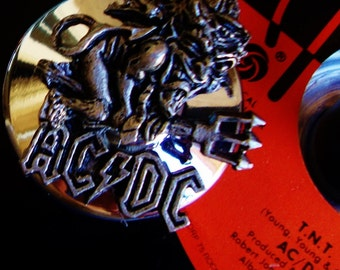 "AC/DC ""TNT"" Vinyl Record Art, Mid Century Votive/Taper Candle Holder Night Light Bon Scott Vintage Solid Silver Metal Base Hard Rock Rip Mal"