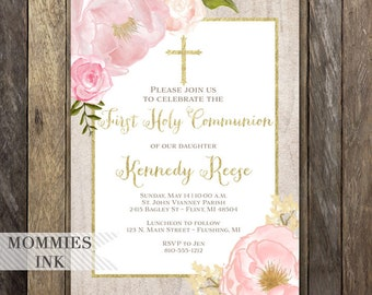 Watercolor Peonies Baptism Invitation, Whitewash Religious Invite, Watercolor Pink Roses, Gold Glitter, Communion Invitation, Pink Flowers