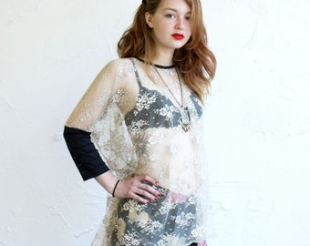 Lace Blouse, Lace Top, Sheer Top, Metallic Lace, Box T, Taupe Lace, Loose Top, Comfortable Top, Plus Size, Cream Lace Blouse, Norwegian Wood