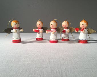 Christmas Angel Ornaments - Vintage Painted Wood Musicians - Christmas Tree Ornaments - Drummer - Band - Redheads