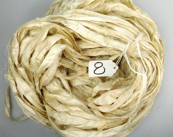 Sari silk Ribbon, Recycled Silk Sari Ribbon, Cream sari ribbon, off white sari ribbon, weaving supply, knitting supply, spinning supply