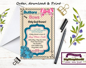 Gender Neutral Baby Shower Invitation, Buttons and Bows - Printable Personalized  File