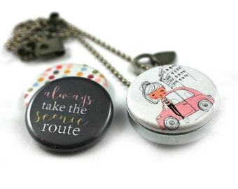 Personalized Road Trip Necklace • Road Trip Locket • New Driver Gift • Road Trip Gift • 3 in 1 • Magnetic • Gift for Her • Silver Steel