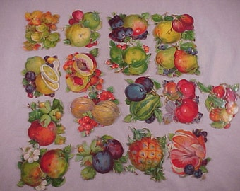 ot of 15 Lithographed Fruit and Vegetable Die Cut Pictures Printed in Germany