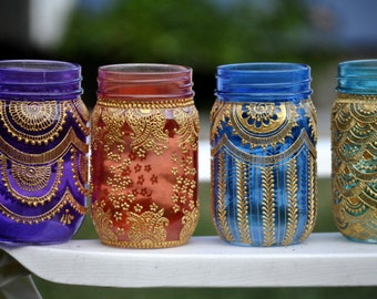 Set of 6 Bohemian Moroccan Mason Jar Tinted Lanterns Lighting Decorated With Henna Designs Party Decor Wedding Bridal Party Events