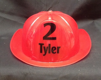 Child's Firemans birthday hat with name and age