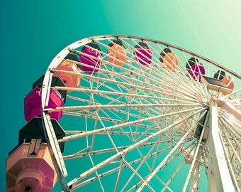 Ferris Wheel Photograph, Baby Nursery Decor, Teal, Pink, Carnival, Pacific Park, Santa Monica Pier, California Print