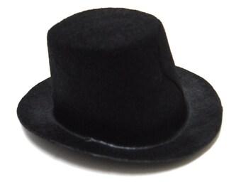 "4"" Black Mini Flocked Felt Top Hats"