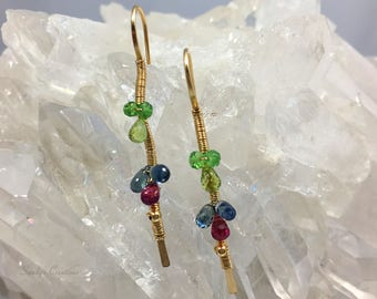 14K Goldfill Gemstone lienear earrings, sleek earrings, modern Jewelry
