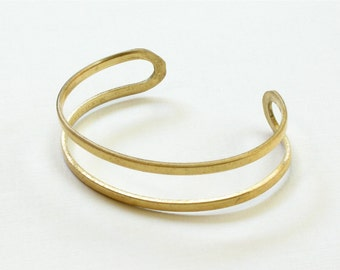2 Blank double band BRACELET jewelry cuff . Brass  (S201)