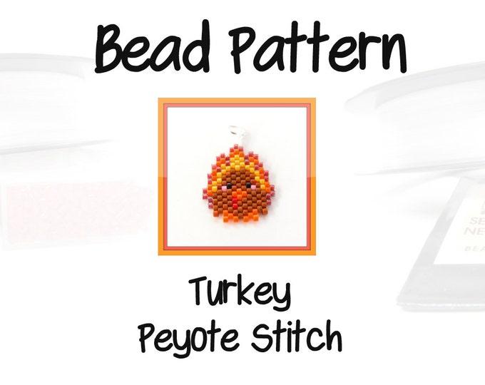Thanksgiving Turkey Beading Pattern, Seed Bead Jewelry : Earrings, Charm, Pendant