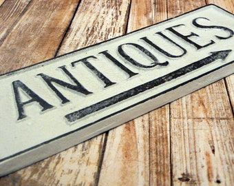 Antiques Cast Iron Sign White Rustic Shabby Chic Advertising Business Shop Plaque
