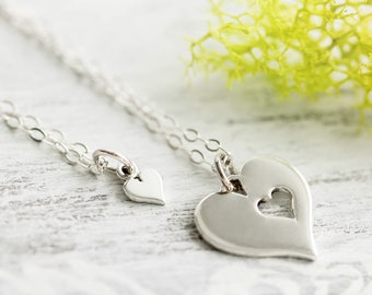 Sterling Silver Sisters Necklace, Sterling Silver Heart Necklace Gift Set, Mothers Day Gift
