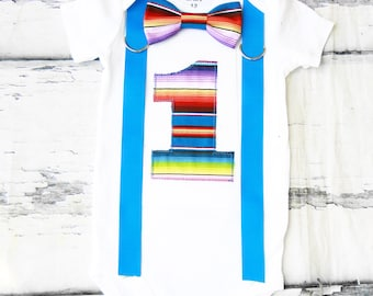 Cinco De Mayo Theme Bow tie Suspenders set Boy Cake Smash Boy first year outfit boy Fiesta birthday Boy first birthday Boy Second Mexican