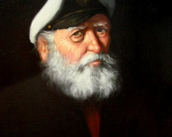 A Weathered Sea Captain Oil Painting Reproduction Print