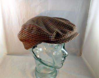 Vintage Pendleton Newsboy Style Cap Brown Tone with Dark Brown, Blue, Red and Green Lines Size Large             01870