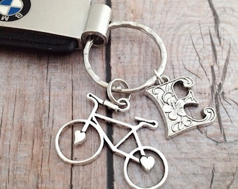 Bicycle Keychain, Initial Keychain, Bicycle Key Ring, Custom Keychain, Cycling Keychain, Men's Gift, Personalized Initial Bicycle Keychain