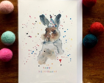 "Birthday Card - Hare  ""Happy BirthdHare"" Card - Multicolour - Illustration"