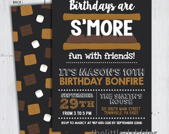 Printable S'more Bonfire Birthday Party Invitation -- Birthdays are S'more Fun With Friends Summer Camp Scouting Campfire Sleepover Party