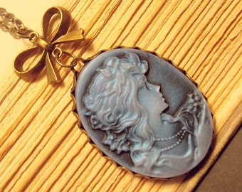 Bronze and Blue Victorian Cameo Necklace