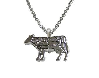 Beef Butchers Cut Pendant Necklace