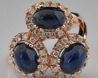14K Rose Gold Sapphire & Diamond Cluster Ring | Wedding Ring | Statement Ring | Engagement Ring | Diamond Halo | Handmade Fine Jewelry