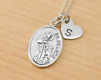 St Francis Necklace Charm, Pendant, Initial Necklace, Personalized Necklace, Sterling Silver, Heart Charm Necklace, Bridesmaid Gift