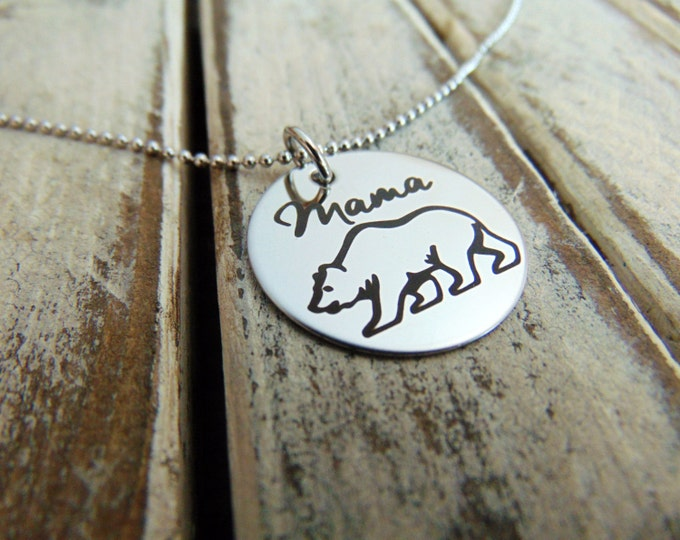 "Mama Bear Necklace - Back Customized option - Laser Engraved - 1"" pendant - Gift for Mom, New Mom Gift- Stainless Steel, No Tarnish"