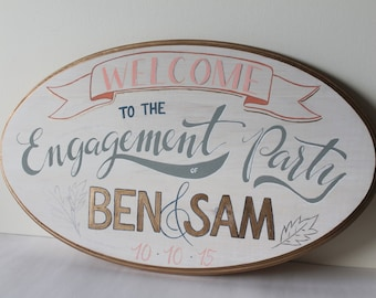 Hand Painted Party Sign   Engagement / Wedding / Birthday / Showers   Oval 12 x 20   Whitewashed Wood