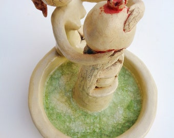 Ceramic sculpture figurine woman female with pomegranate and fountain modern artwork collectible art collector by Elisaveta Sivas