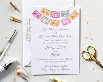 Wedding Invitation, Papel Picado Wedding Invitation, Mexican Wedding Invitation, Destination Wedding Invitation, Papel Picado Invite