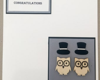 Two Groom Owls (Congratulations, Gay Wedding or Gay Engagement Card)