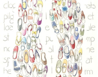 """Shoes, sandles, flip flops, watercolor and colored pencil, print 11"""" x 16 1/2"""", painting, drawing, art, beach, archival, realistic."""