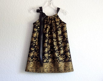 New! Girls Black and Gold Party Dress - Metallic Gold Flowers on Black - Little Girls Dressy Dress - Size 18m, 2T, 3T, 4T, 5, 6, 8, or 10