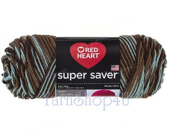 EARTH & SKY Red Heart Super Saver, variegated Brown and Blue multi color yarn, 5oz acrylic yarn, Brown with Blue mixed yarn