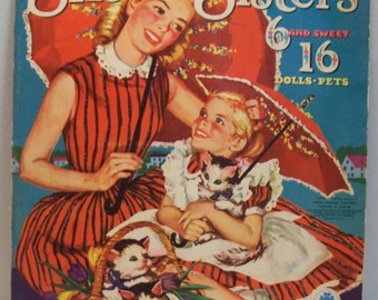 On Clearance -Vintage Big and Little Six Sisters 6 and sweet 16 paper dolls Merrill 2582