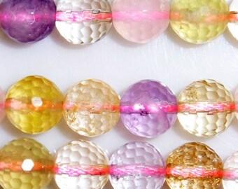 12mm Round Cut 5 Colors Quartz Bead Semiprecious Gemstone Bead String Beading 15''L Jewelry Supply Wholesale Beads