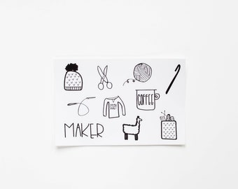 Knitting and Crochet Stickers, Hand Drawn Knitting Notions, Planner Stickers, Stickers For The Maker / Maker Essentials