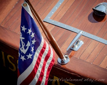 Nautical art, Boat wall art, Lake house decor, Nautical décor, Maritime decor, Chris Craft, Anchor art, Coastal decor // Nautical Flag No2