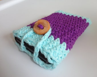 SALE Crocheted Cell Phone Case - Smart Phone Sleeve - Phone Cozy - Gadget - Purple - Summer - Spring