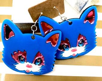 Big Cat Earrings, Large Acrylic Earrings, Blue Kitty Earrings, Kitty Cat Face, Cat Dangle Earrings, Oversize Earrings, Kawaii Cat Harajuku