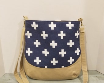Navy and White Crosses - Crossbody Bag - Large Crossbody - Purse - Shoulder Bag - Tote Bag